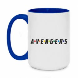 Кружка двухцветная 420ml Avengers in the style of the logo of friends