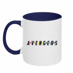 Кружка двухцветная 320ml Avengers in the style of the logo of friends