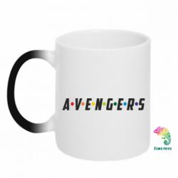 Кружка-хамелеон Avengers in the style of the logo of friends