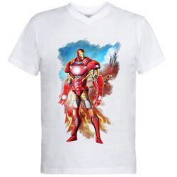 Чоловіча футболка з V-подібним вирізом Avengers iron man drawing
