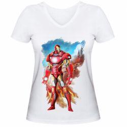 Жіноча футболка з V-подібним вирізом Avengers iron man drawing