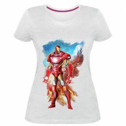 Жіноча стрейчева футболка Avengers iron man drawing