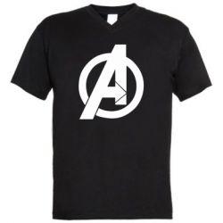 Чоловіча футболка з V-подібним вирізом Avengers logo