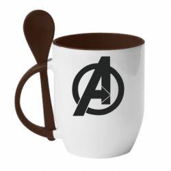 Кружка з керамічною ложкою Avengers logo