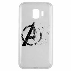 Чехол для Samsung J2 2018 Avengers logotype destruction