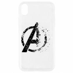 Чехол для iPhone XR Avengers logotype destruction