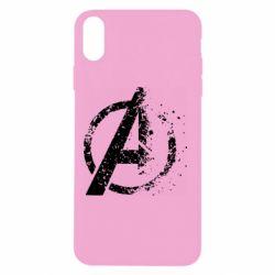 Чехол для iPhone Xs Max Avengers logotype destruction
