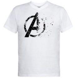 Мужская футболка  с V-образным вырезом Avengers logotype destruction