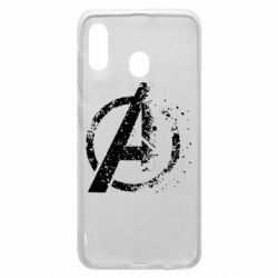 Чехол для Samsung A20 Avengers logotype destruction