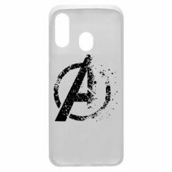 Чехол для Samsung A40 Avengers logotype destruction