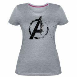 Женская стрейчевая футболка Avengers logotype destruction