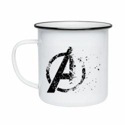 Кружка эмалированная Avengers logotype destruction