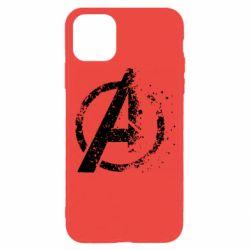 Чехол для iPhone 11 Pro Avengers logotype destruction