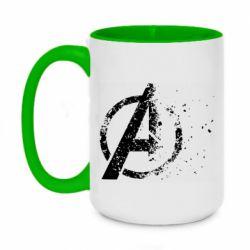 Кружка двухцветная 420ml Avengers logotype destruction