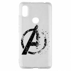Чехол для Xiaomi Redmi S2 Avengers logotype destruction