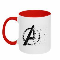 Кружка двухцветная 320ml Avengers logotype destruction