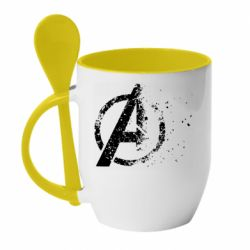 Кружка с керамической ложкой Avengers logotype destruction