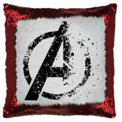 Подушка-хамелеон Avengers logotype destruction