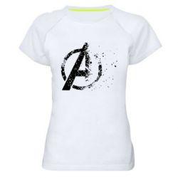 Женская спортивная футболка Avengers logotype destruction