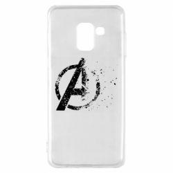 Чехол для Samsung A8 2018 Avengers logotype destruction