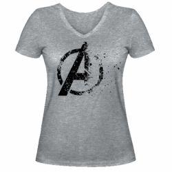 Женская футболка с V-образным вырезом Avengers logotype destruction