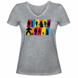 Жіноча футболка з V-подібним вирізом Avengers silhouette