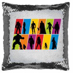 Подушка-хамелеон Avengers silhouette