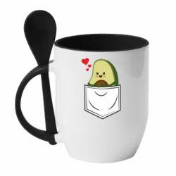 Кружка с керамической ложкой Avocado in your pocket