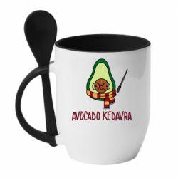 Кружка з керамічною ложкою Avocado kedavra