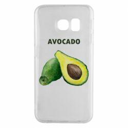 Чехол для Samsung S6 EDGE Avocado watercolor