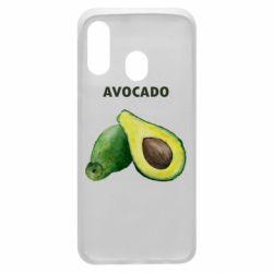 Чехол для Samsung A40 Avocado watercolor