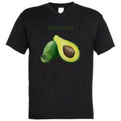 Мужская футболка  с V-образным вырезом Avocado watercolor