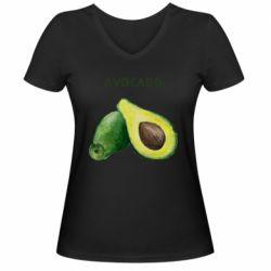 Женская футболка с V-образным вырезом Avocado watercolor