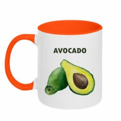 Кружка двухцветная 320ml Avocado watercolor