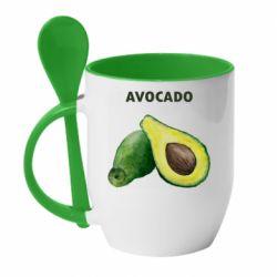 Кружка с керамической ложкой Avocado watercolor