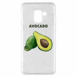 Чехол для Samsung A8 2018 Avocado watercolor