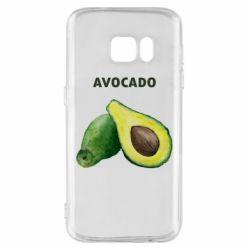 Чехол для Samsung S7 Avocado watercolor