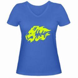 Женская футболка с V-образным вырезом Авто графика