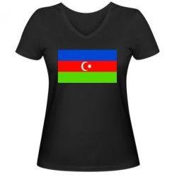 Женская футболка с V-образным вырезом Азербайджан - FatLine