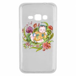 Чехол для Samsung J1 2016 Baby and flowers