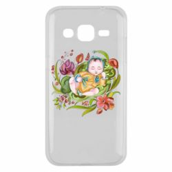 Чехол для Samsung J2 2015 Baby and flowers