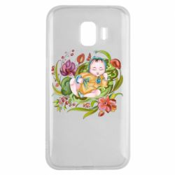 Чехол для Samsung J2 2018 Baby and flowers