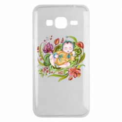 Чехол для Samsung J3 2016 Baby and flowers