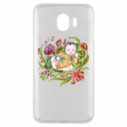 Чехол для Samsung J4 Baby and flowers