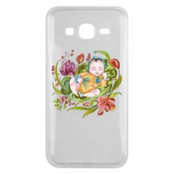Чехол для Samsung J5 2015 Baby and flowers