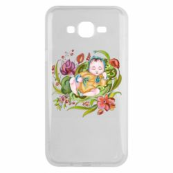 Чехол для Samsung J7 2015 Baby and flowers