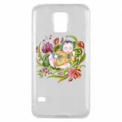 Чехол для Samsung S5 Baby and flowers