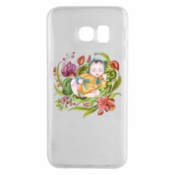 Чехол для Samsung S6 EDGE Baby and flowers