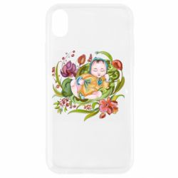 Чехол для iPhone XR Baby and flowers