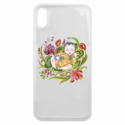 Чехол для iPhone Xs Max Baby and flowers